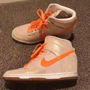 Nike sneaker wedges- orange and tan